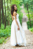 Beautiful bride in white wedding dress Stock Image