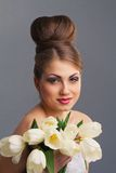 Beautiful Bride With Tulips Stock Photography