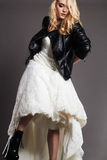 Beautiful bride woman in leather jacket Royalty Free Stock Photo