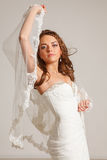 Beautiful bride. Beautiful young bride in studio Stock Photography