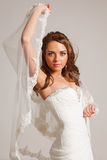 Beautiful bride. Beautiful young bride in a white dress Royalty Free Stock Photos
