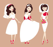 Beautiful brides. Collection of beautiful brides vector illustration Stock Photo