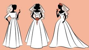 Beautiful brides in dress. Illustration for a design Royalty Free Stock Image