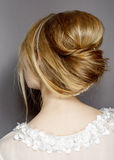 beautiful brides hairstyle for wedding Stock Photography