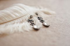 Beautiful brides jewerly. Wedding accessories. morning bride. Royalty Free Stock Images