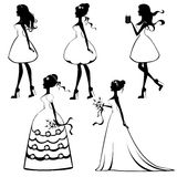 Beautiful brides silhouettes set Royalty Free Stock Image
