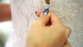 Beautiful bridesmaid dress button girlfriend stock video