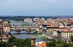 Beautiful bridge. Ponte Vecchio and the other bridge of Florence over the Arno river. Italy Stock Image