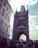 San Carlo bridge in Prague stock photo