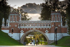 Beautiful bridge in the  ensemble Tsaritsyno Royalty Free Stock Images