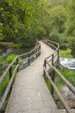 Bridge over the river inside the woods. Beautiful bridge made of stones crossing the river in the middle of the woods royalty free stock images