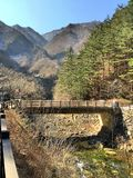 Beautiful bridge in the mountain Stock Images