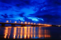 Beautiful bridge in the night with blue sky Stock Image