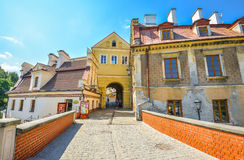 Beautiful bridge and old Brama Grodzka Gate to Old town of Lublin. Royalty Free Stock Image
