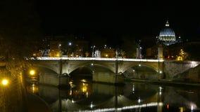 Beautiful Bridge over River Tiber in Rome at night stock video footage