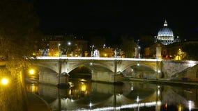 Beautiful Bridge over River Tiber in Rome at night stock video