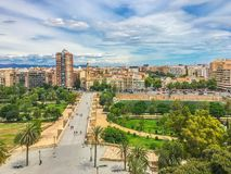 Beautiful bridge with park and city skyline view in Valencia spain. A beautiful bridge with park and city skyline view in Valencia spain stock images
