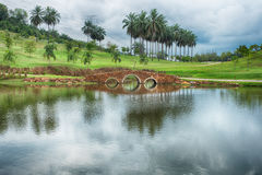 Beautiful bridge at the pond Royalty Free Stock Images