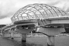 Beautiful bridge. Shot on black and white photographic film, on a cloudy day Royalty Free Stock Photography