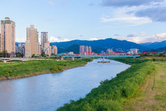 Beautiful bridge in Taipei under the blue sky. Cityscape of the taipei city Royalty Free Stock Images