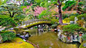Free Beautiful Bridge Upon Small Pond In The Japanese Style Garden Royalty Free Stock Photos - 211115358