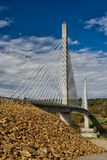 Beautiful Bridge. This beautiful bridge was just finished in Maine. The lighting at night is stunning. The view from the tower is incredible stock images