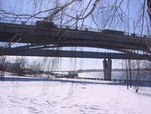 Beautiful bridges in Novosibirsk on a clear Sunny winter day stock photos