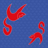 Beautiful bright background with cats. Beautiful bright animal  design element. On a blue   background with paw prints and cat silhouettes cats red Stock Images