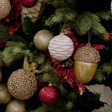 Beautiful Christmas tree. Beautiful and bright balls and toys on the New Year tree royalty free stock images