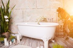 Beautiful bright bathroom with large white bath, green flowers, candles. House interior stock image