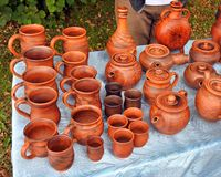 Beautiful bright brown ceramic handmade works Stock Images