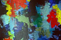 Colorful bright pattern with oil paints on canvas Royalty Free Stock Photo