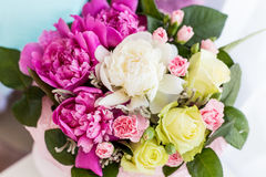 Beautiful bright colored bouquet of roses and peony Royalty Free Stock Image
