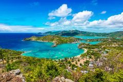 Shirley Heights in Antigua and Barbuda, Caribbean. Beautiful bright and colorful aerial view of English harbor, Shirley Heights in Antigua, Caribbean. Landscape royalty free stock photography