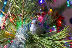 Beautiful, bright, colorful decorations for your home and a Christmas tree on a Christmas and New Year holiday. Beautiful, bright, colorful decorations for home Royalty Free Stock Photography
