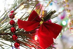 Beautiful, bright, colorful decorations for your home and a Christmas tree on a Christmas and New Year holiday. Beautiful, bright, colorful decorations for home Royalty Free Stock Photos