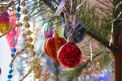 Beautiful, bright, colorful decorations for your home and a Christmas tree on a Christmas and New Year holiday. Beautiful, bright, colorful decorations for home Royalty Free Stock Photo