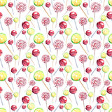 Beautiful bright colorful delicious tasty yummy cute lovely summer dessert candies on a sticks different shapes diagonal pattern. Watercolor hand illustration Royalty Free Stock Images