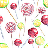 Beautiful bright colorful delicious tasty yummy cute lovely summer dessert candies on a sticks different shapes diagonal pattern. Watercolor hand illustration Stock Image