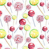 Beautiful bright colorful delicious tasty yummy cute lovely summer dessert candies on a sticks different shapes diagonal pattern. Watercolor hand illustration Stock Images