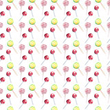 Beautiful bright colorful delicious tasty yummy cute lovely summer dessert candies on a sticks different shapes diagonal pattern. Watercolor hand illustration Stock Photography