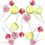 Beautiful bright colorful delicious tasty yummy cute lovely summer dessert candies on a sticks different shapes diagonal pattern. Watercolor hand illustration Stock Photos