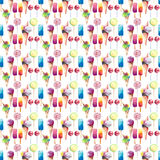 Beautiful bright colorful delicious tasty yummy cute summer dessert frozen juice ice cream in a waffle horn candies on a sticks. Pattern watercolor hand Stock Photo