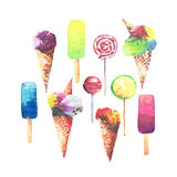Beautiful bright colorful delicious tasty yummy cute summer dessert frozen juice ice cream in a waffle horn candies on a sticks co Stock Photo