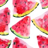 Beautiful bright colorful delicious tasty yummy ripe juicy cute lovely red summer autumn fresh dessert slices of watermelon patter. N watercolor hand Royalty Free Stock Photography