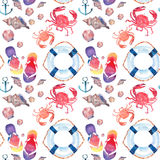 Beautiful bright colorful lovely summer marine beach pattern of flip flops red crabs pastel cute seashells blue lifebuoy and dark Stock Images