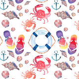 Beautiful bright colorful lovely summer marine beach pattern of flip flops red crabs pastel cute seashells blue lifebuoy and dark Stock Image