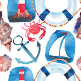 Beautiful bright colorful lovely summer ocean marine beach pattern of lifebuoy, blue anchor, red white seamark and dark blue ancho Royalty Free Stock Photo