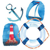Beautiful bright colorful lovely summer ocean marine beach pattern of lifebuoy, blue anchor, red white seamark and dark blue ancho Stock Photo