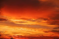 Beautiful bright colorful sky. Picture taken at sunset. Red-orange background with nice paints. Rare sunrise. Natural composition stock image